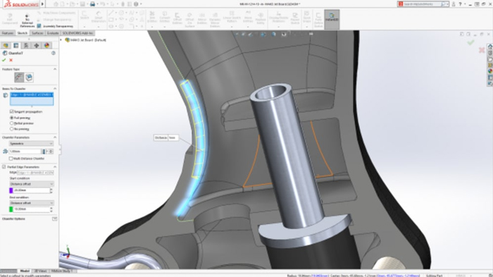 solidworks 2019 - Partial Chamfer Fillet