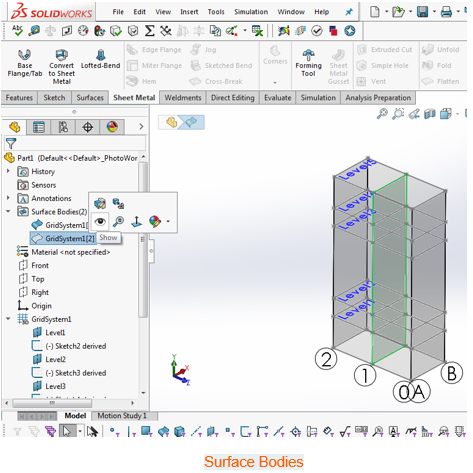 grid system solidworks 5