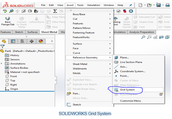 grid system solidworks