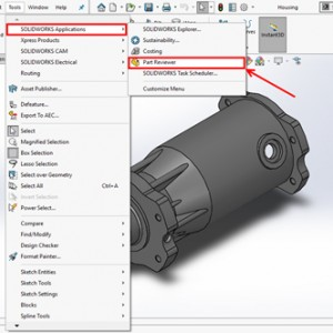Part Reviewer Pada Menu Tools SOLIDWORKS Application