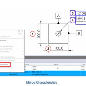 Merge dan UnMerge Characteristics di SOLIDWORKS Inspection 2018