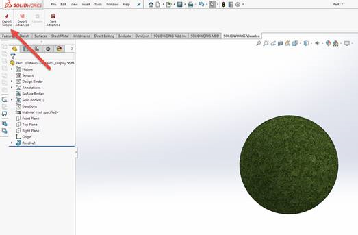 SOLIDWORKS Visualize – Converting Modo Appearances for Use in Visualize - Figure 2 - SOLIDWORKS - Visualize Add-In Export Simple